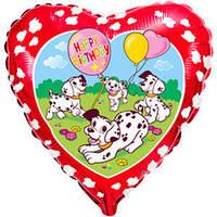 Гелеевый шар FM Сердце И-221 С днем рождения Далматинцы красный фон 18/45см шар фольга