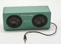 Портативные колонки для ноутбука CY-02: 2 динамика, АКБ, кабель mini jack 3,5 мм/USB, цвет бирюза