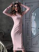 Женское теплое платье косичка ниже колен