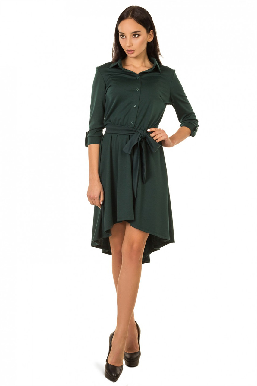 Платье рубашка со шлейфом