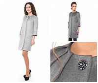 Демисезонное прямое женское пальтоe из высококачественной шерсти -alb02104