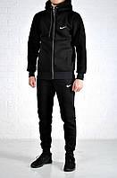 Мужской утепленный спортивный костюм Nike Hood черный на молнии найк с капюшоном