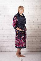 Велюровый халат с цветами, фото 1