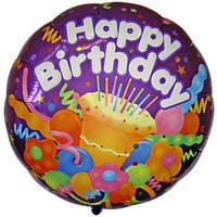 Гелеевый шар Джамбо 46 С Днем Рождения Праздничный торт 36/91см , арт. 17762-36