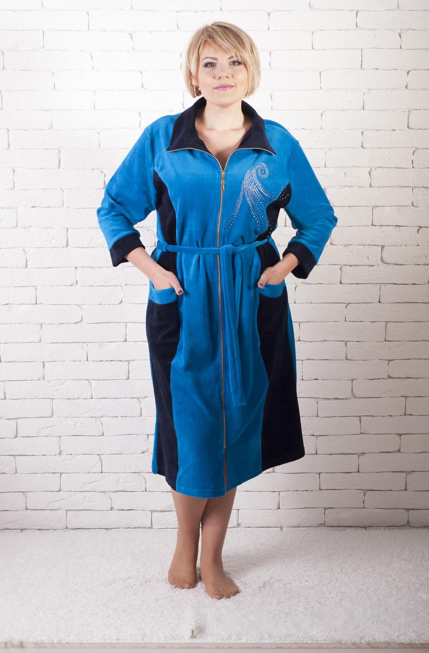 Женский велюровый халат супер батал