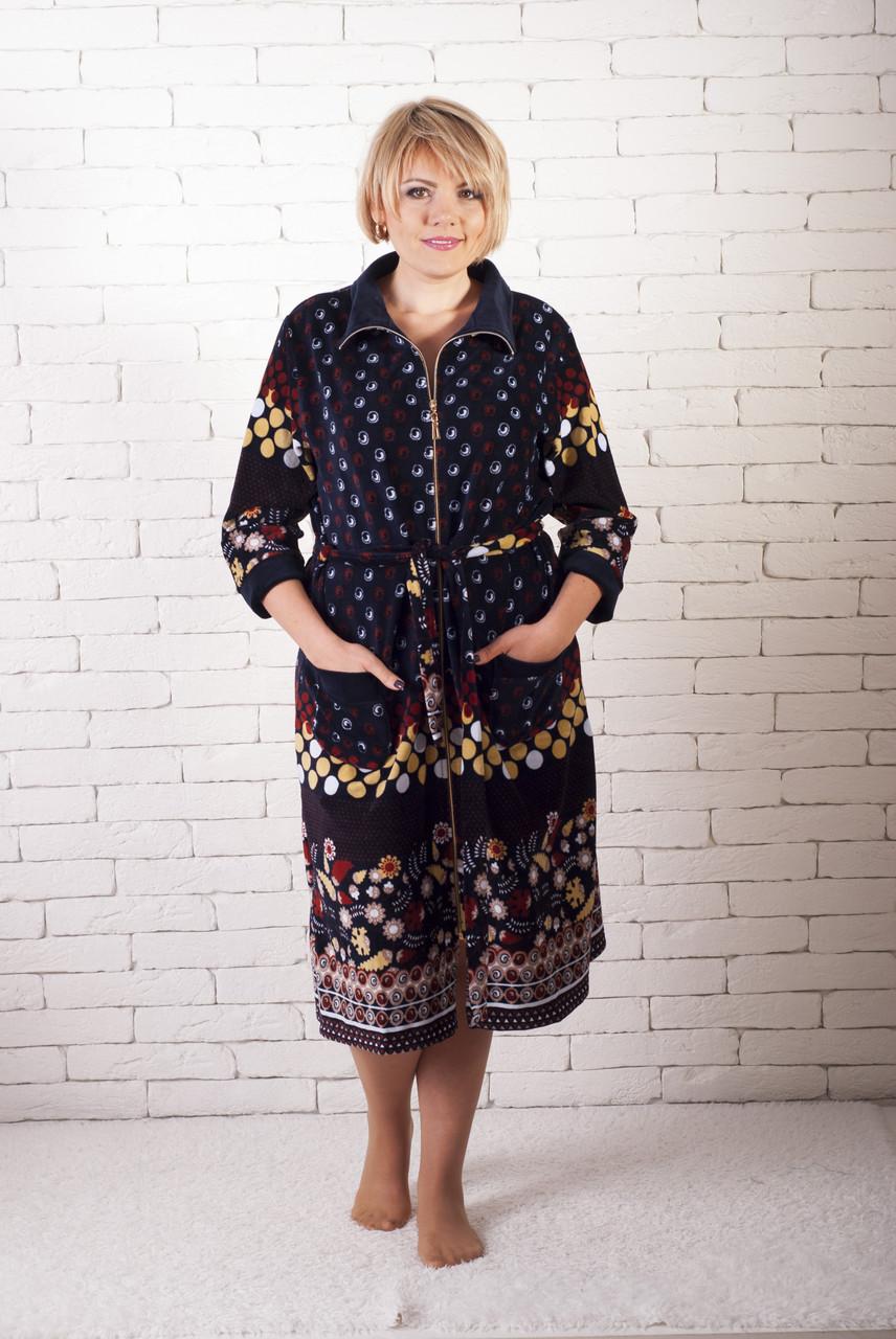 Очень большой велюровый халат рябинка, фото 1