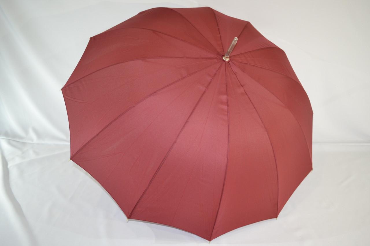 """Однотонный зонтик трость на 12 пластиковых спиц от фирмы """"TOPRAIN""""."""