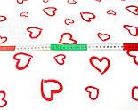 "Ткань бязь ""валентинка красная на белом"" (№109)., фото 3"