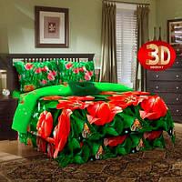 Комплект постельного белья бязь люкс двухспальный Красные тюльпаны