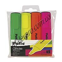 Набор маркеров-выделителителей текста, на водной основе, со скошенным грифом, линия 2-5 мм, 4 шт