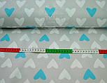 Ткань хлопковая с голубыми и белыми сердцами на сером фоне № 467а, фото 4