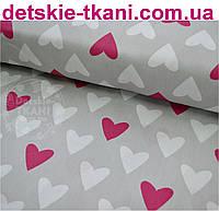 Ткань хлопковая с малиновыми и белыми сердцами на сером фоне №468а