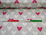 Ткань хлопковая с малиновыми и белыми сердцами на сером фоне №468а, фото 4
