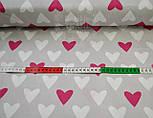 Тканина бавовняна з малиновими і білими серцями на сірому фоні №468а, фото 4