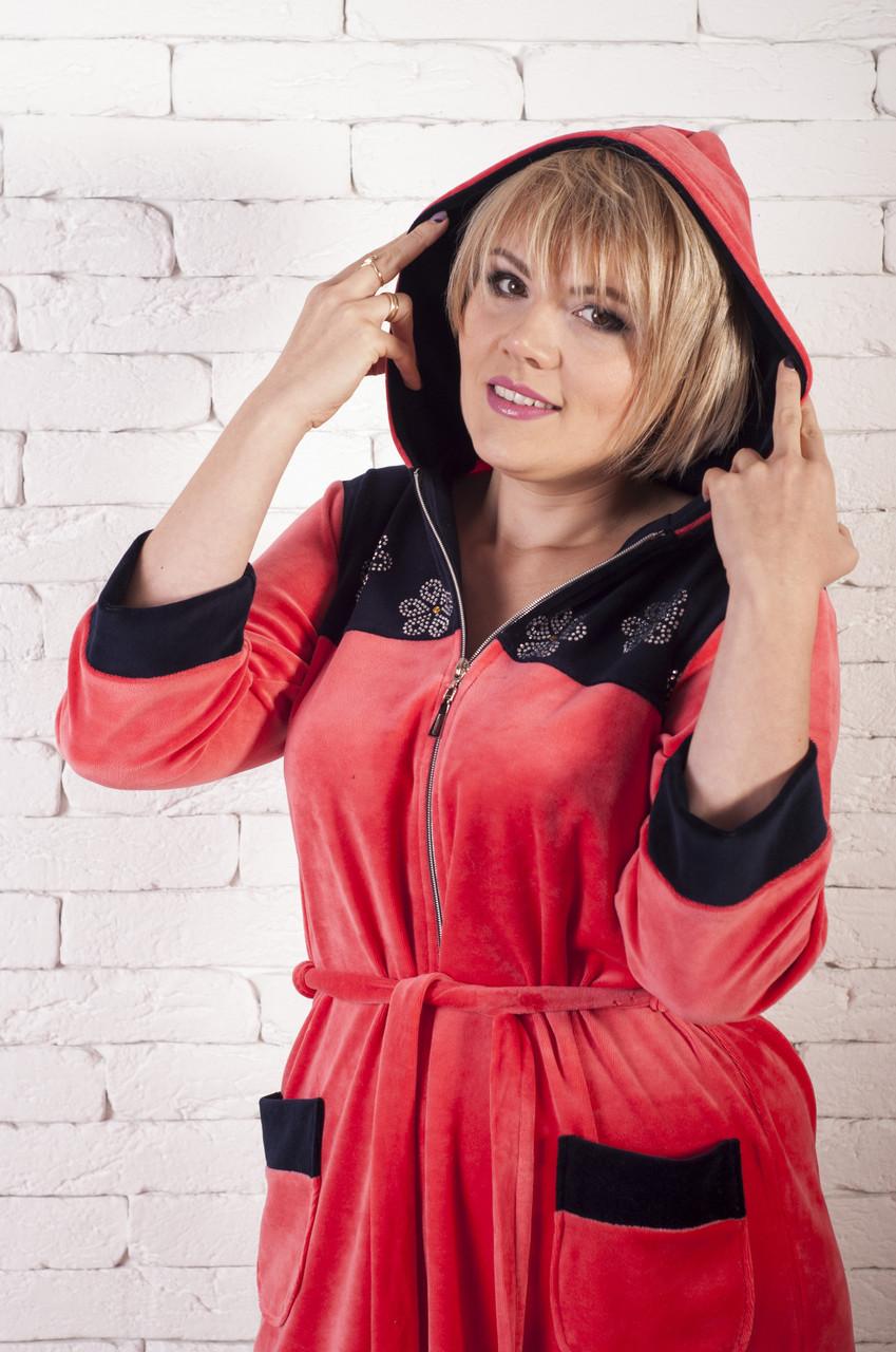 Велюровый халат женский с капюшоном ромашки, фото 1