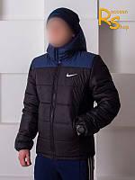 Зимняя мужская куртка Nike black-blue (осень-зима)