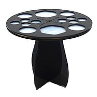 Подставка/держатель/сушилка для 14 кистей настольная акриловая круглая (черная)