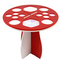 Подставка/держатель/сушилка для 14 кистей настольная акриловая круглая (красно-белая)