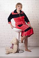 Шикарный женский велюровый халат с воротником однотонный, фото 1