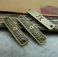 "Бирка  ""Hand made"",  2,5х0,6 см, античная бронза"