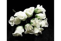 Розы бутоны Белые из фоамирана (латекса) на проволоке 2 см 10 шт/уп
