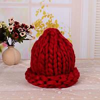 Вязаная шапка Бордовый