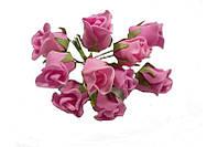 Розы бутоны Розовые из фоамирана (латекса) на проволоке 2 см 10 шт/уп