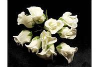 Розы бутоны Молочные из фоамирана (латекса) на проволоке 2 см 10 шт/уп