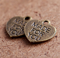 "Сердечко   ""Made for you"", античная бронза, 1,4х1,4 см"