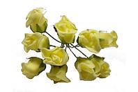 Розы бутоны Лимонные из фоамирана (латекса) на проволоке 2 см 10 шт/уп