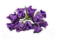 Розы бутоны Сиреневые из фоамирана (латекса) на проволоке 2 см 10 шт/уп