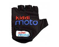 Перчатки детские Kiddi Moto чёрные с логотипом, размер S на возраст 2-4 года