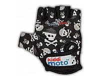 Перчатки детские Kiddi Moto чёрные с черепами, размер М на возраст 4-7 лет
