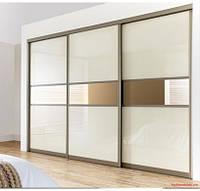 """Дверь купе """"Манхэттен"""" (2680х700), Цветное стекло, Зеркало."""
