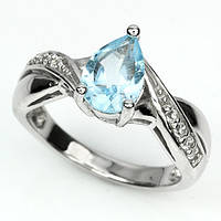 Кольцо серебро 925 скай блю топаз