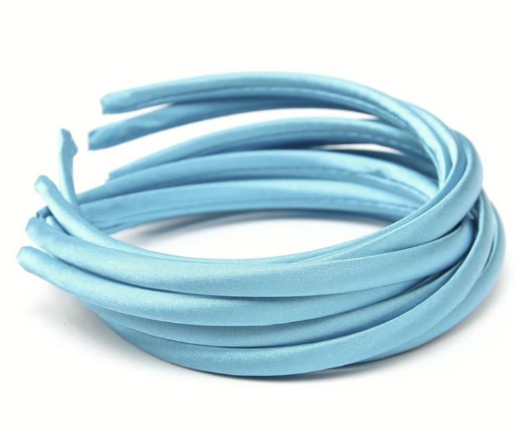 Основа для ободка (ободок) пластиковый атласный Голубой 1 см 6 шт/уп
