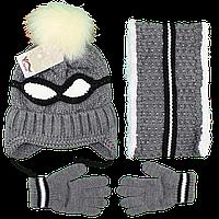 Набор вязанная шапка с мехом, вязанный хомут на травке и перчатки для мальчика от 2 до 5 лет (4852-3)