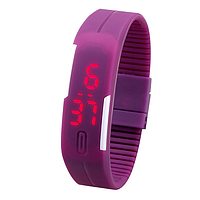 Спортивные силиконовые водонепроницаемые наручные LED часы - браслет 2 в 1, Фиолетовый, Унисекс , фото 1