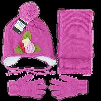 Турецкий зимний набор для девочки от 2 до 5 лет Шапка, перчатки и шарф (4852-4)