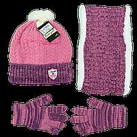 Турецкий вязанный набор шапка, хомут и перчатки для девочек от 2 до 5 лет (4852-6)