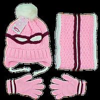 Зимний вязанный набор для девочек от 2 до 5 лет (4852-7)