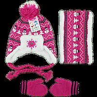 Детский набор для девочек Шапка, хомут и варежки Возраст: 1- 2 года (4853-6)