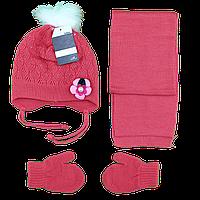 Детский набор с цветком Шарф, шапка и варежки Возраст: 1- 2 года (4853-9)