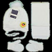 Детский набор с цветком шапка варежки и шарф Возраст: 1- 2 года (4853-10)