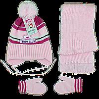Набор с цветком шапка варежки и шарф Возраст: 1- 2 года (4853-11)