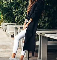 Пальто накидка с поясом чёрное