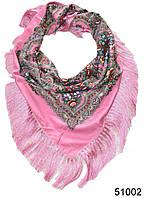 Павлопосадский шерстяной платок розовый