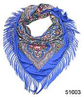 Павлопосадский шерстяной платок синий