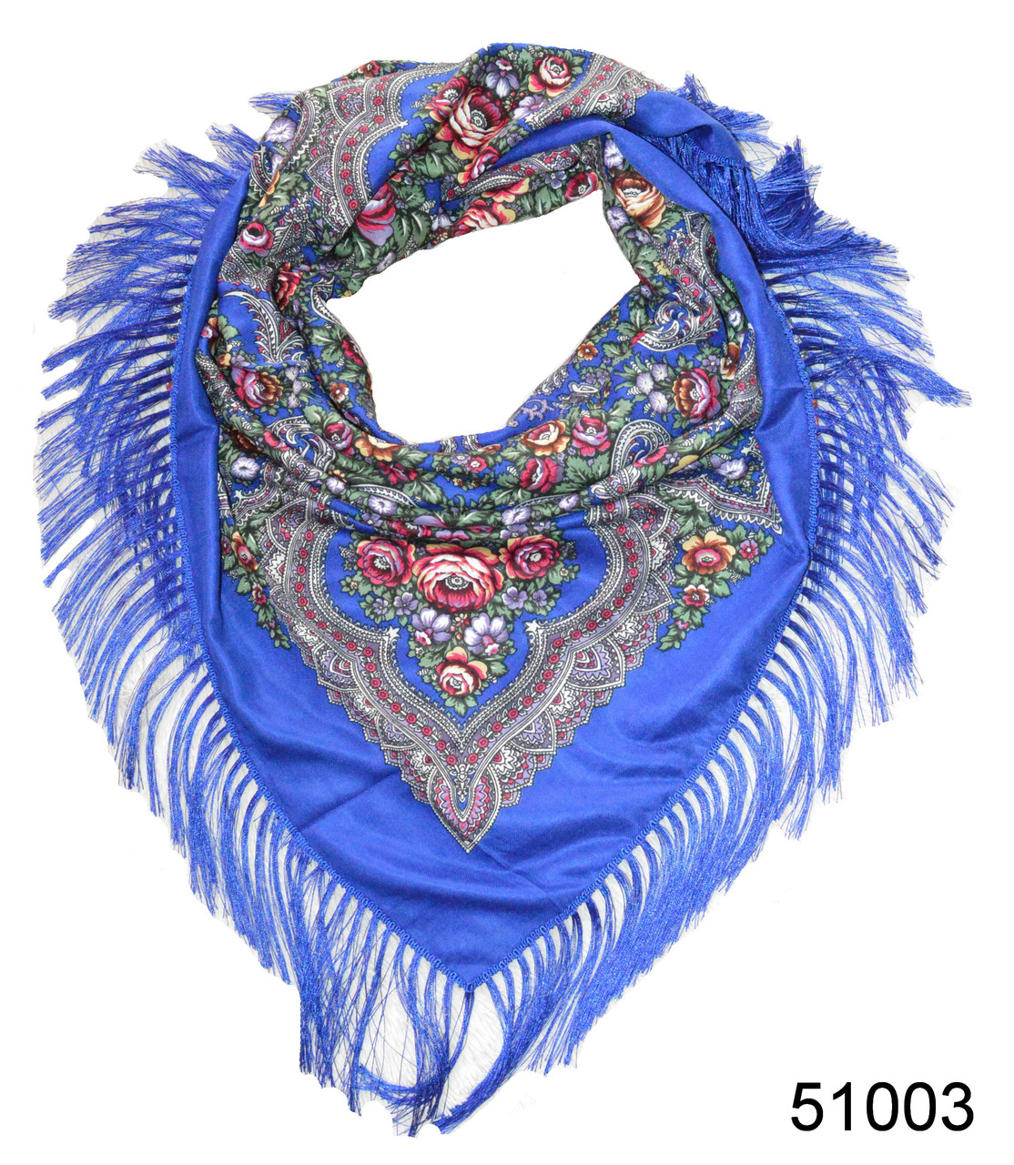 Павлопосадский шерстяной платок синий, фото 1