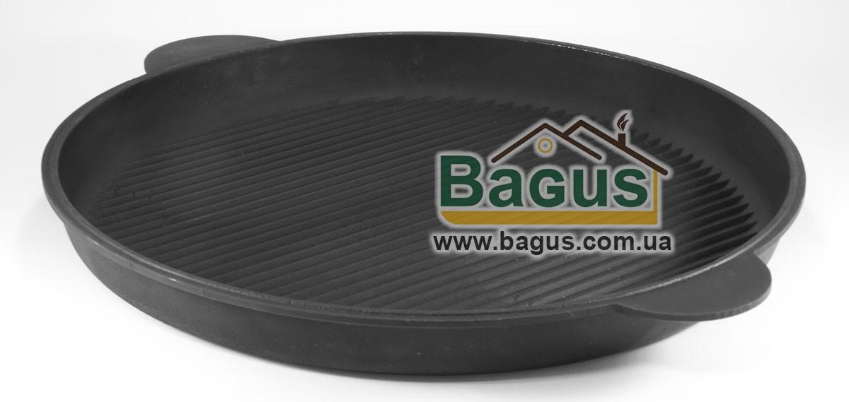 Сковорода чугунная гриль 400х40 мм круглая, чугунная посуда Эколит (Украина) 4040ГБР